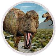 A Pack Of Tyrannosaurus Rex Dinosaurs Round Beach Towel