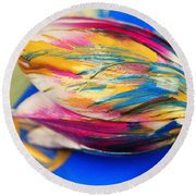 A Painted Tulip. Round Beach Towel