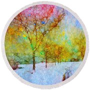 A Painted Winter Round Beach Towel