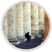A Painting Alone Among The Vatican Columns Round Beach Towel