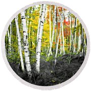 A Painting Autumn Birch Grove Round Beach Towel