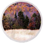 A Painting Autumn Field Round Beach Towel