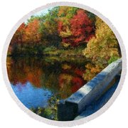 A Painting Autumn Lake And Bridge Round Beach Towel