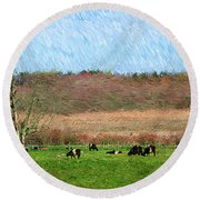 A Painting Cows Grazing And Newport Bridge Round Beach Towel