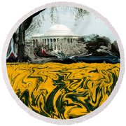 A Painting Jefferson Memorial Dali-style Round Beach Towel