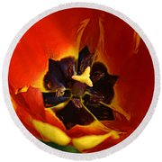 A Painting Red Tulip Round Beach Towel
