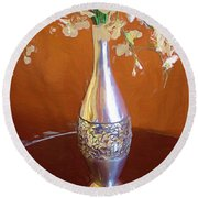 A Painting Silver Vase On Table Round Beach Towel