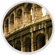 A Painting The Colosseum Round Beach Towel
