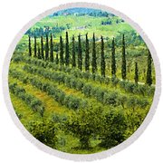 A Painting Tuscan Panoramic 4 Round Beach Towel