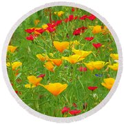 A Painting Tuscan Poppies Round Beach Towel