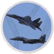 A Pair Of F-15c Eagle Aircraft Perform Round Beach Towel