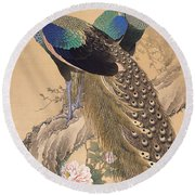 A Pair Of Peacocks In Spring Round Beach Towel
