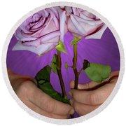 A Pair Of Purple Roses Round Beach Towel