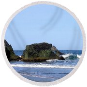 A Pair Of Seagulls On A Rock Round Beach Towel