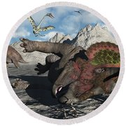 A Pair Of Triceratops Trapped Round Beach Towel
