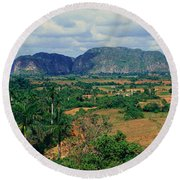 A Panoramic View Of The Valle De Round Beach Towel