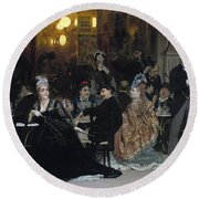 A Parisian Cafe Round Beach Towel by Ilya Efimovich Repin