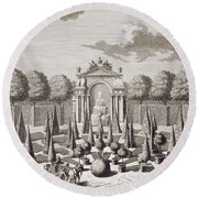 A Parterre With Orange Trees In The Garden Of The Lichtenstein Palace Round Beach Towel