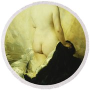 A Partially Draped Nude Round Beach Towel by Charles Chaplin