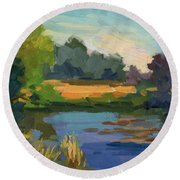 A Patch Of Sun Round Beach Towel