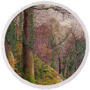 A Path In The Wood Round Beach Towel