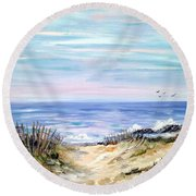 Where The Waves Are Round Beach Towel