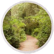 A Path To The Redwoods Round Beach Towel