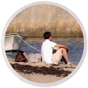 A Peaceful Day At Provincetown  Round Beach Towel