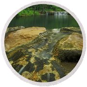A Peaceful Early Morning At Little Niagra Waterfall A Round Beach Towel