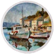 A Peaceful Harbour  Round Beach Towel