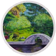 A Peaceful Place In Hiroshima Round Beach Towel
