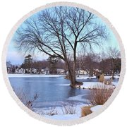 A Peaceful Winter Day Round Beach Towel