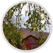 A Peak Of Fall Red Barn Round Beach Towel