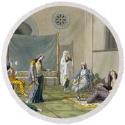 A Persian Harem, From Le Costume Ancien Round Beach Towel