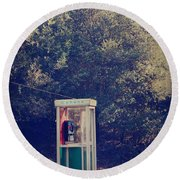 A Phone In A Booth? Round Beach Towel