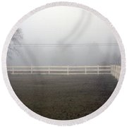 A Picket Fence In An Early Morning Mist Round Beach Towel