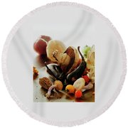 A Pile Of Vegetables Round Beach Towel