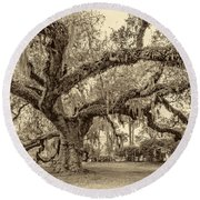 A Place For Dying Sepia 2 Round Beach Towel