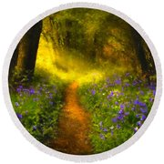 A Place In The Sun - Impressionism Round Beach Towel