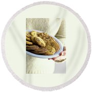 A Plate Of Cookies Round Beach Towel