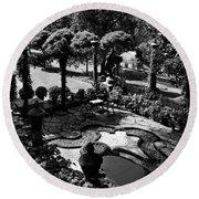 A Pond In An Ornamental Garden Round Beach Towel