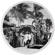 A Portable Jazz Band In Miami Round Beach Towel