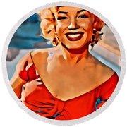 A Portrait Of Marilyn Round Beach Towel