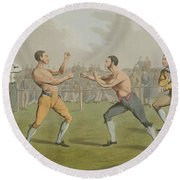 A Prize Fight Aquatinted By I Clark Round Beach Towel by Henry Thomas Alken