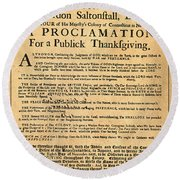 A Proclamation Of Thanksgiving Round Beach Towel
