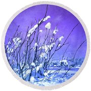 A Purple Winter Round Beach Towel