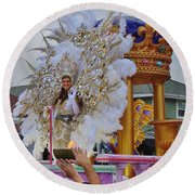 A Queen Of Carnival During Mardi Gras 2013 Round Beach Towel