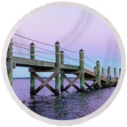 A Quiet Evening At Dusk With A Moonrise Round Beach Towel