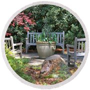 A Quiet Place To Meet Round Beach Towel