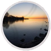 A Quiet Sunrise - Toronto Lake Ontario Round Beach Towel